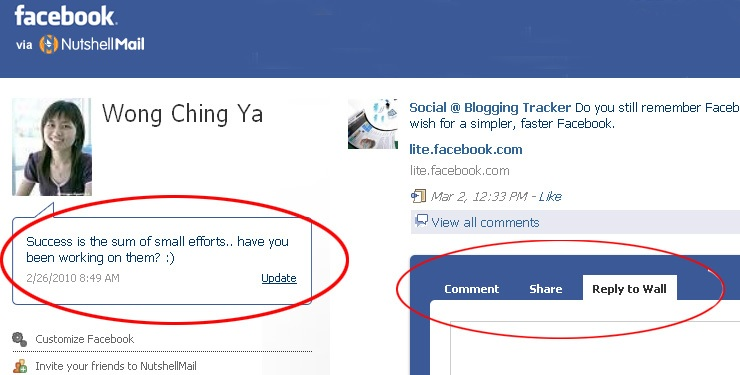 NutshellMail updates status comments on Facebook Get More Facebook Fan#6