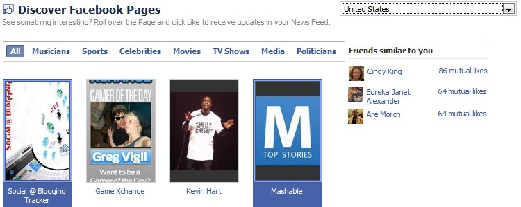 Discover facebook pages to like and mutual likes with friends