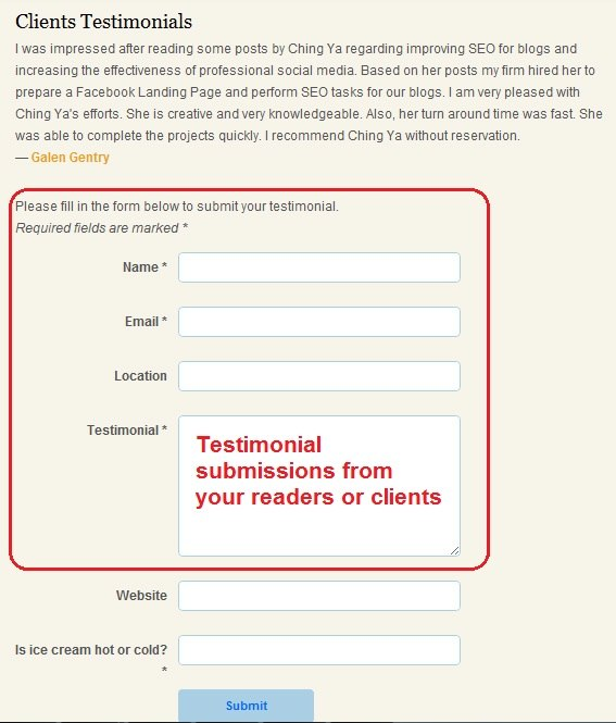 Collision Testimonial provides testimonial form submissions