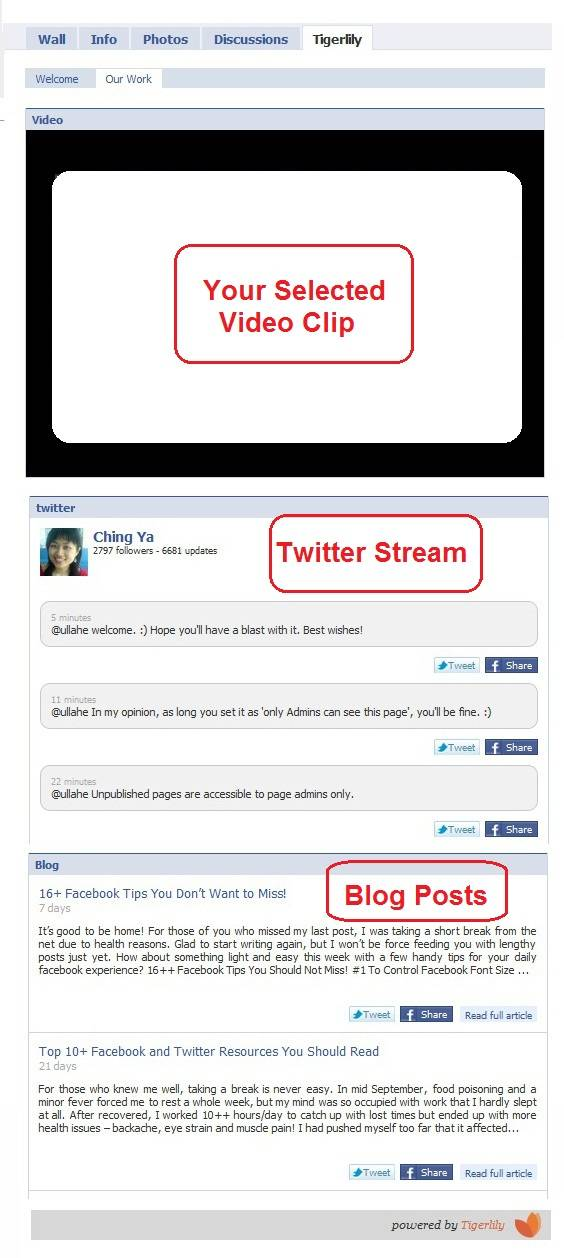 rss feed, social feeds and video embed to tigerlily custom tab