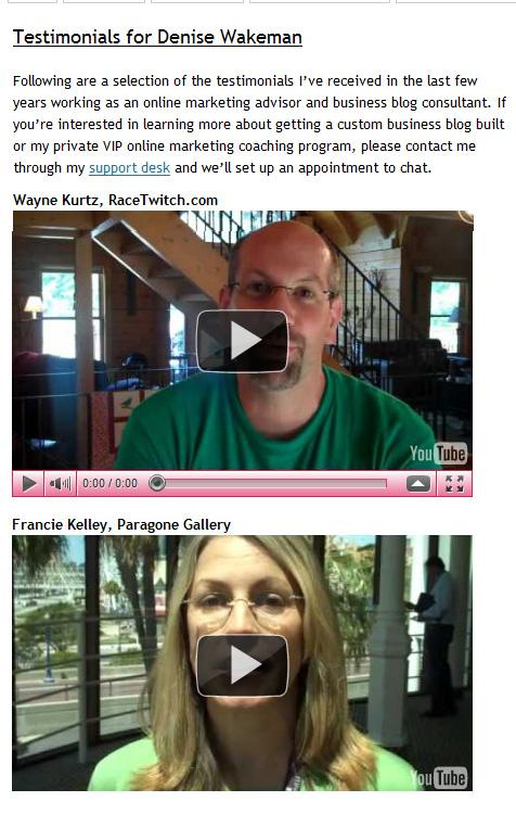 video testimonials from clients