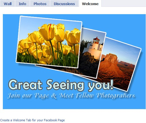 welcome tab for facebook page