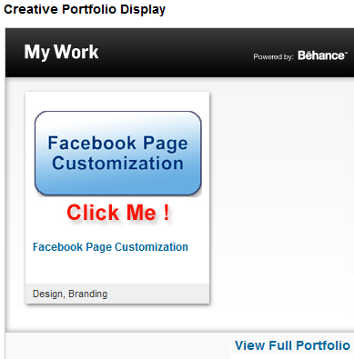 behance creative portfolio display
