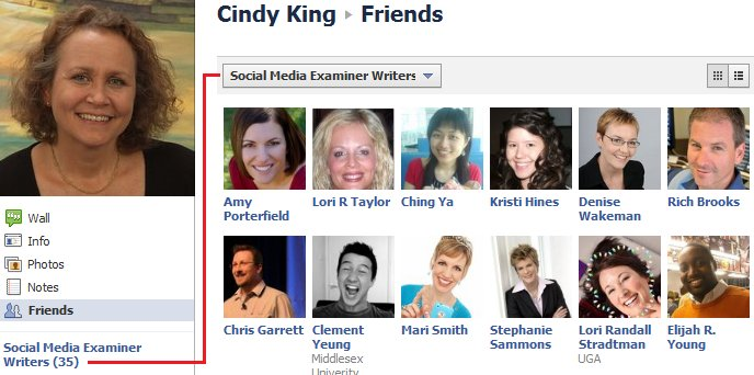 create featured facebook lists for new profile