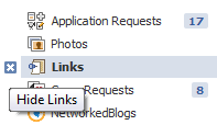 hide facebook application from navigation links