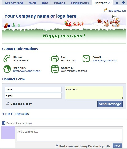 Contact tab for facebook page