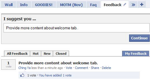 Uservoice add a feedback tab to your facebook page