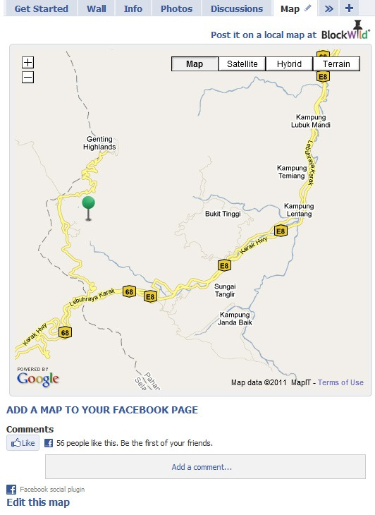 blockwild adds Google map into your facebook page