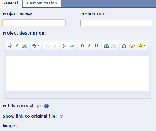 dportfolio configuration to post project on facebook page