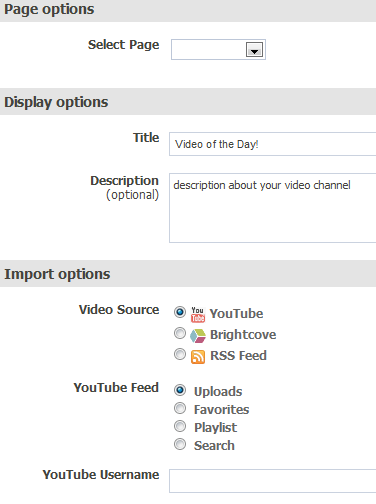ffwd Videos configuration options