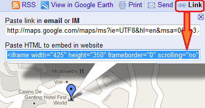 get the embed code from Google Maps