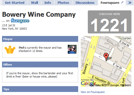 google map on foursquare by placewidget