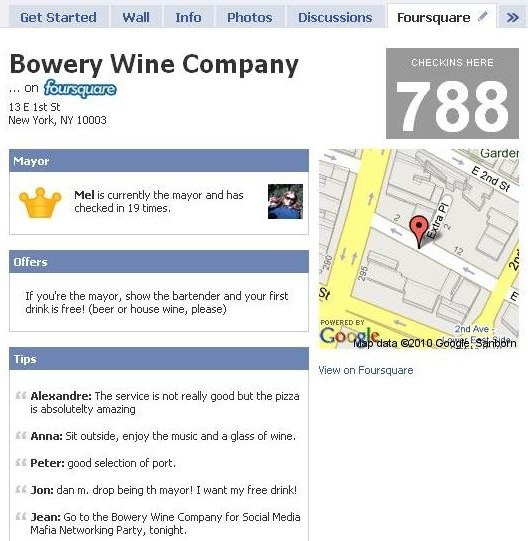 placewidget adds foursquare tab to your facebook page