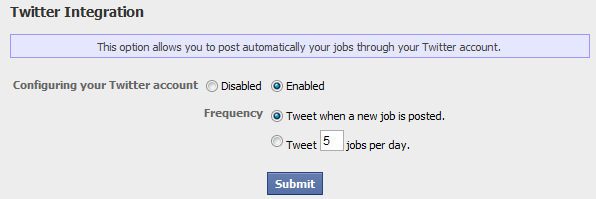 twitter integration and posting frequency for your new job