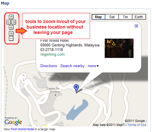 your business location is shown on contact tab Google map