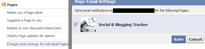 change email settings for individual pages