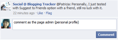 comment as the admin profile in managed page