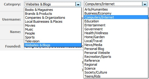 select and edit your page category