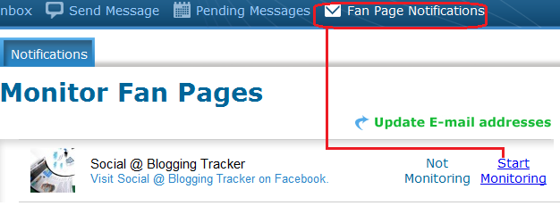 start monitoring your facebook page by updating email address