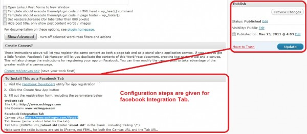 configuration for facebook integration tab