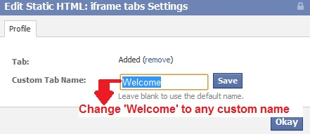 change Welcome tab to any custom tab name